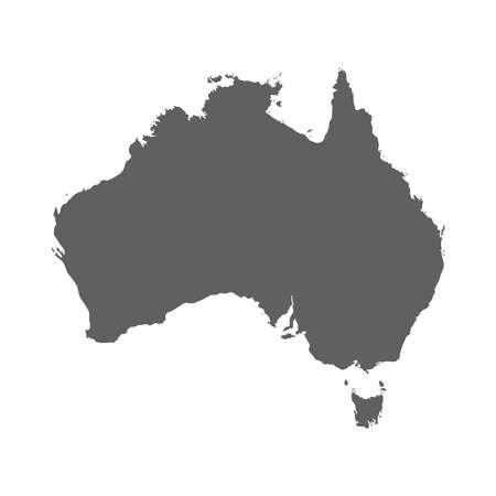 Isolated grey blank Australia map on white background. Flat vector illustration.