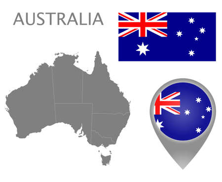 Colorful flag, map pointer and gray map of Australia with the administrative divisions. High detail. Vector illustration Çizim