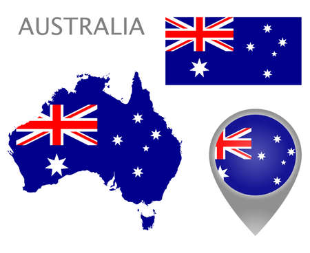 Colorful flag, map pointer and map of Australia in the colors of the Australian flag. High detail. Vector illustration Çizim
