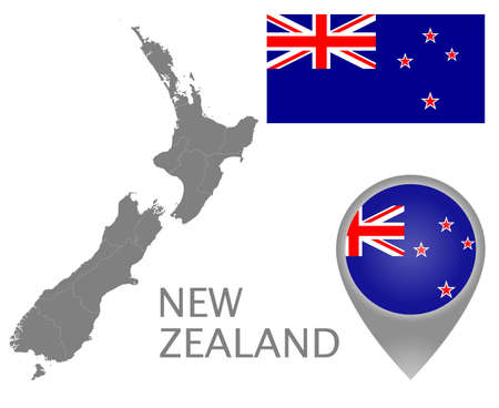 Colorful flag, map pointer and gray map of New Zealand with the administrative divisions. High detail. Vector illustration Illustration
