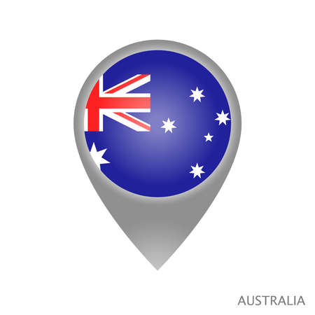Map pointer with flag of Australia. Colorful pointer icon for map. Vector Illustration. Çizim