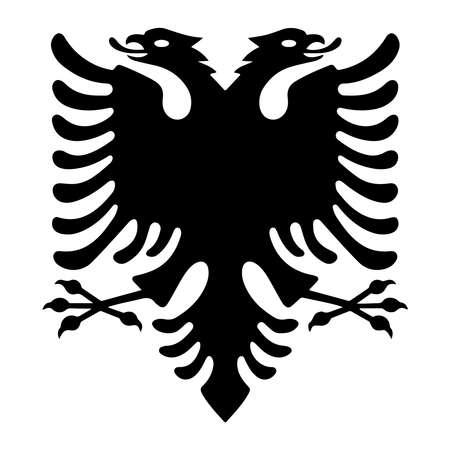 Águila albanesa con dos cabezas. Símbolo negro aislado sobre fondo blanco. Bandera y escudo de armas de Albania. Ilustración de vector de señal