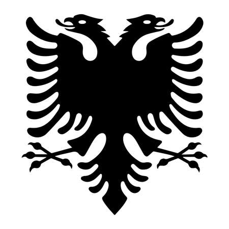 Albanian eagle with two heads. Isolated black symbol on white background. Albanian flag and coat of arms. Sign vector illustration