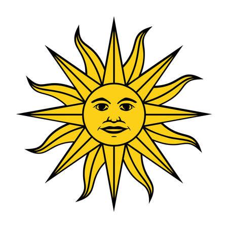 The Inca sun God. Inti sun of may. Uruguayan flag. Isolated on white background. Abstract vector illustration Illustration