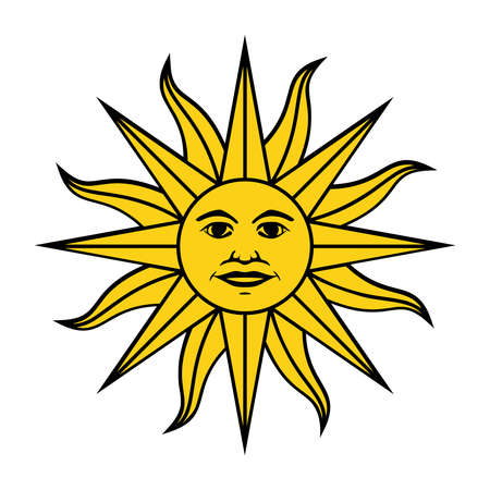 The Inca sun God. Inti sun of may. Uruguayan flag. Isolated on white background. Abstract vector illustration  イラスト・ベクター素材