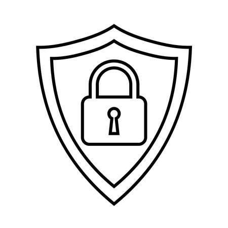 Secure internet icon. Protective shield sign digital security with the image of a padlock. Symbol security protection web. Abstract vector illustration.