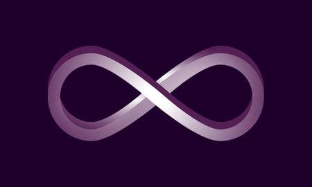 Realistic 3d infinity symbol. Logo design element. Isolated on deep purple background. Vector illustration.
