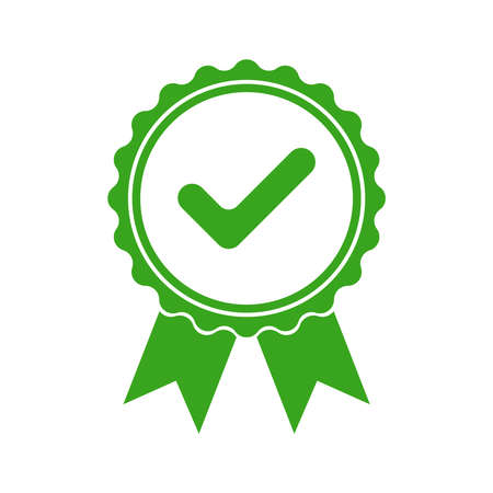 Green icon approved or certified medal. Isolated on white background. Flat design vector illustration.