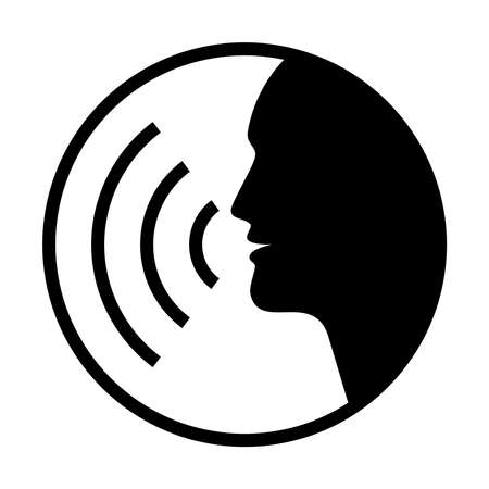 Icon voice command with sound waves. Sign speaking man. Black symbol head  silhouette isolated on white background. Vector illustration Illustration