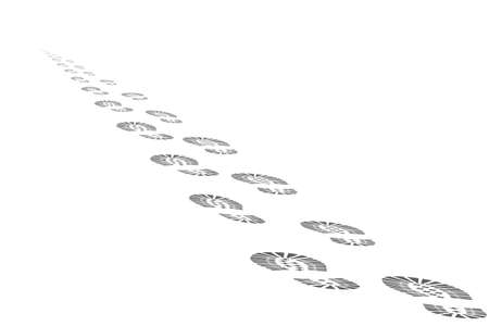 The footprints of the departing into the distance beyond the horizon of man. Abstract vector illustration