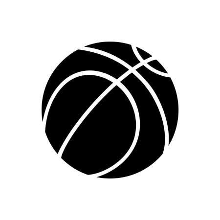 Basketball ball flat icon. Black symbol basketball ball isolated on white background. Basketball ball sign vector illustration