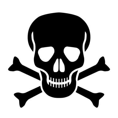Crâne de symbole mortel et os isolés sur fond blanc. Illustration vectorielle de signe abstrait