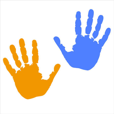 Hands isolated color icon on white background. Symbol human hands. Silhouette hands flat design. Vector illustration.