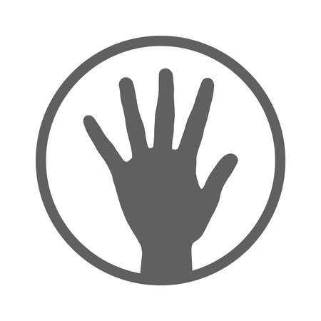 Symbol the arm is lifted up. Silhouette of a hand in a white circle. Vector