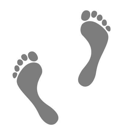 Footprint icon isolated on white background. Gray silhouette of footprint. Human footprint. Vector illustration Illustration