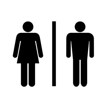Washroom logo. Icon toilet. Isolated  black sign restroom on white background. Abstract symbols man and women. Vector illustration
