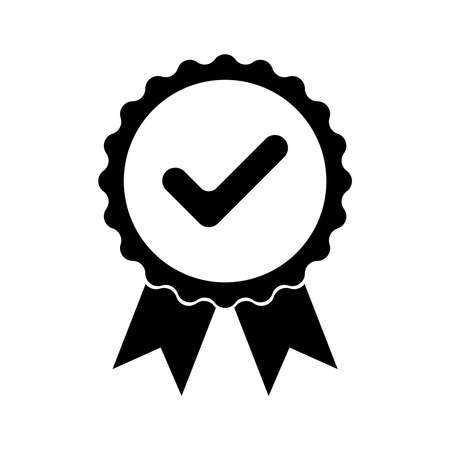 Black icon approved or certified medal. Isolated on white background. Flat design vector illustration. Ilustração