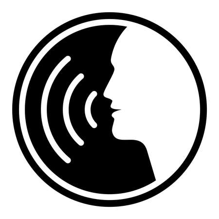 Icon voice command with sound waves. Sign speaking man. Symbol male head  silhouette isolated on white background. Vector illustration