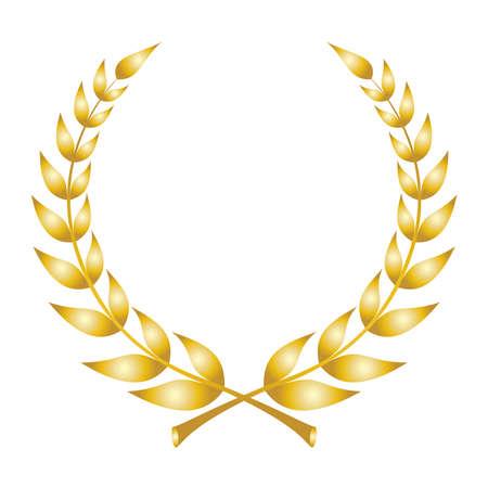 Icona della corona di alloro. Emblema fatto di rami di alloro. Foglie di alloro dorato simbolo di piante di olivo di alta qualità. Segno d'oro isolato su sfondo bianco. Illustrazione vettoriale