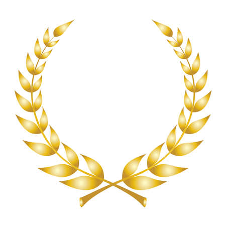 Laurel wreath icon. Emblem made of laurel branches. Golden laurel leaves symbol of high quality olive plants. Golden sign isolated on white background. Vector illustration