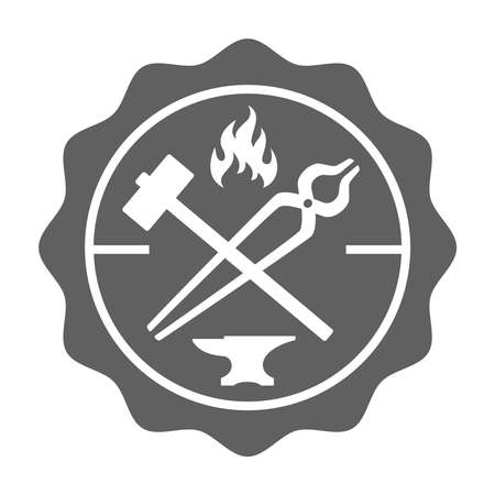 Blacksmith stamp in retro style. Logo. Forge design with forging tools including hammer, anvil, tongs and fire. Vector illustration