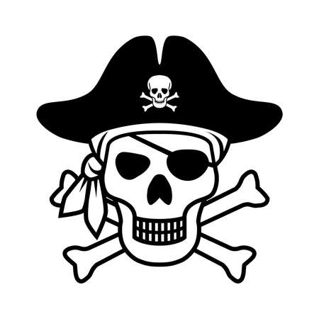 Symbol Jolly Roger. Icon pirate skull isolated on white background. Sign skull with bandana, pirate hat and bones. Monochrome vector illustration Illustration