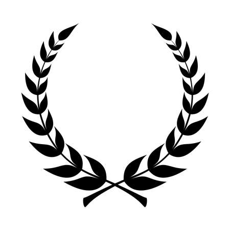Laurel wreath icon. Emblem made of laurel branches. Laurel leaves symbol of high quality olive plants. Sign isolated on white background. Vector illustration Illustration