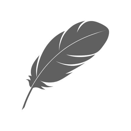 Feather sign or a symbol. Isolated abstract icon on white background. Vector illustration Иллюстрация