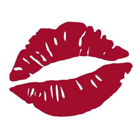 Imprint of a kiss. Red lipstick. Lips in a kiss. Vector Illustration