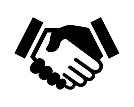 Business agreement handshake or friendly handshake. Isolated black icon on white background for apps and websites. Vector illustration