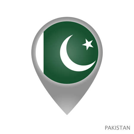 Map pointer with flag of Pakistan. Colorful pointer icon for map. Vector Illustration. Ilustração