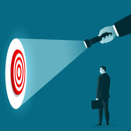 Uncovering goal. A hand holding a flashlight uncovering hidden target. Business concept. Vector illustration