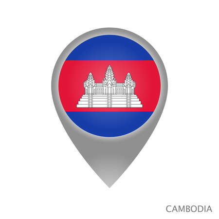 Map pointer with flag of Cambodia. Colorful pointer icon for map. Vector Illustration.
