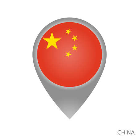 Map pointer with flag of China. Colorful pointer icon for map. Vector Illustration. Ilustrace