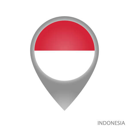 Map pointer with flag of Indonesia. Colorful pointer icon for map. Vector Illustration.