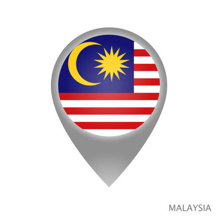 Map pointer with flag of Malaysia. Colorful pointer icon for map. Vector Illustration.