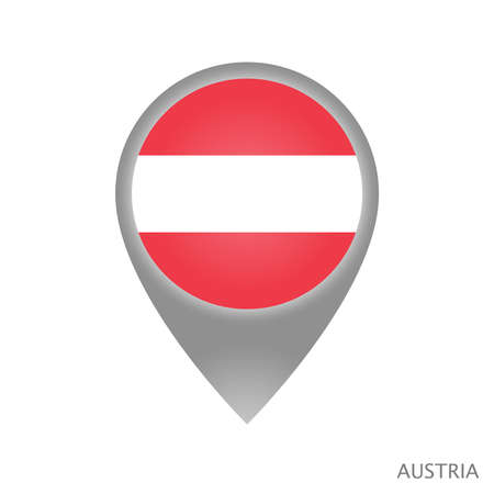 Map pointer with flag of Austria. Colorful pointer icon for map. Vector Illustration. Иллюстрация