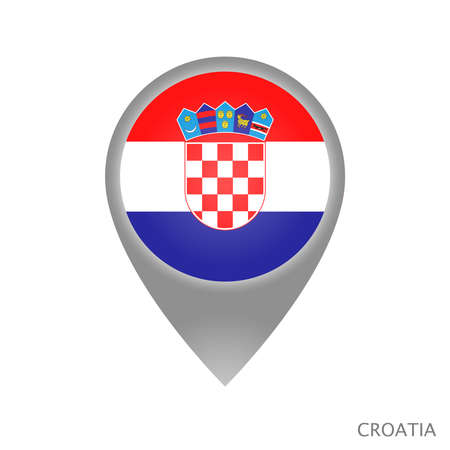 Map pointer with flag of Croatia. Colorful pointer icon for map. Vector Illustration.