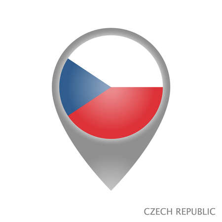 Map pointer with flag of Czech Republic. Colorful pointer icon for map. Vector Illustration. 向量圖像