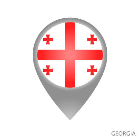 Map pointer with flag of Georgia. Colorful pointer icon for map. Vector Illustration.