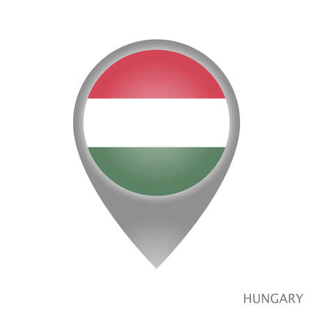 Map pointer with flag of Hungary. Colorful pointer icon for map. Vector Illustration.