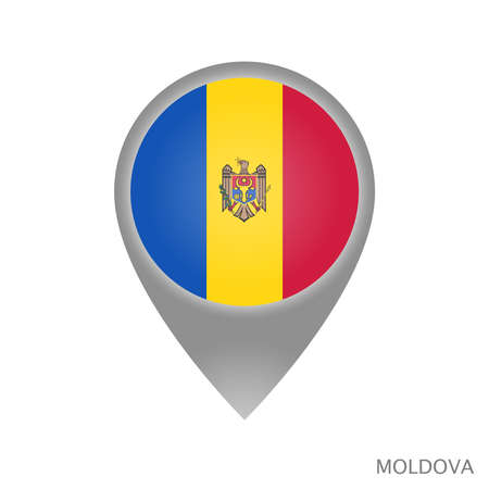 Map pointer with flag of Moldova. Colorful pointer icon for map. Vector Illustration. Illustration