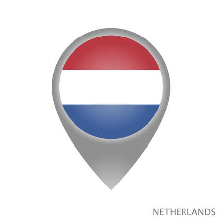 Map pointer with flag of Netherlands. Colorful pointer icon for map. Vector Illustration.