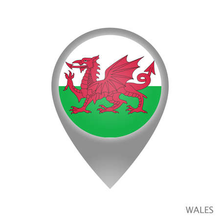 Map pointer with flag of Wales. Colorful pointer icon for map. Vector Illustration.