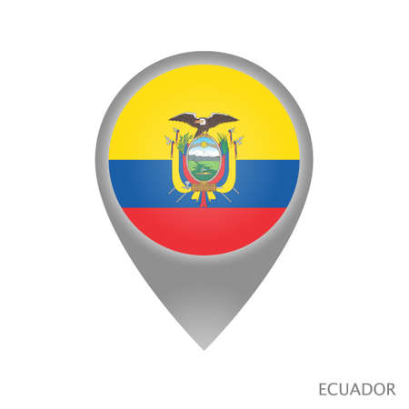 Map pointer with flag of Ecuador. Colorful pointer icon for map. Vector Illustration.