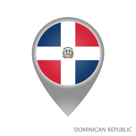 Map pointer with flag of Dominican Republic. Colorful pointer icon for map. Vector Illustration.