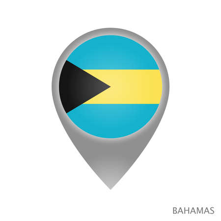 Map pointer with flag of Bahamas. Colorful pointer icon for map. Vector Illustration. Illustration