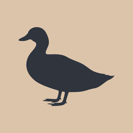Sign duck. Isolated silhouette duck on beige background. Vector illustration