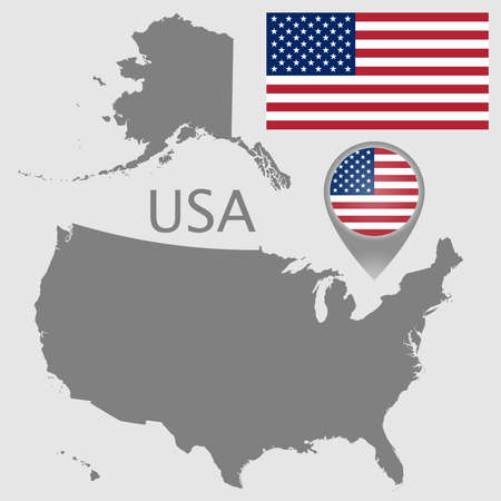 Colorful flag, map pointer and blank map of the USA isolated on gray background. High detail. Vector illustration