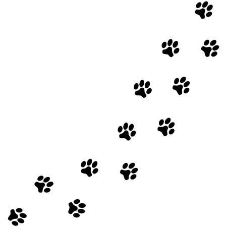 Black dog paw prints isolated on white background. Vector illustration.